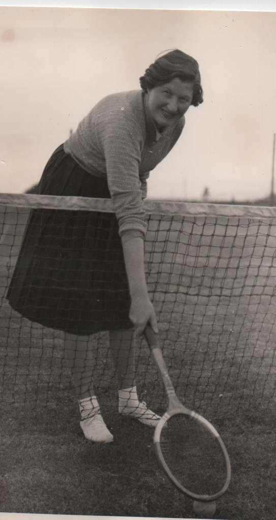 Mother on the Grass Courts of Tramore Tennis Club in the early 1960s