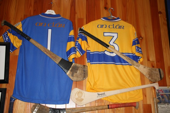 Jerseys and Hurls of Davy Fitzgerald and Brian Lowan photographed at Torpey Huley Makers, Sixmilebridge, Co. Clare http://torpeyhurleys.com