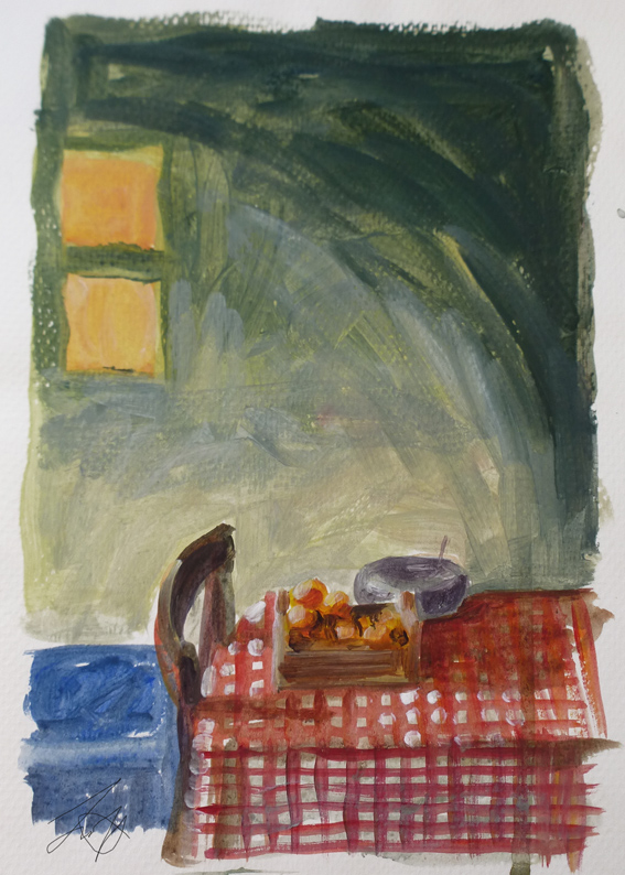 Kitchen at Sunset Painting: Clare Scott
