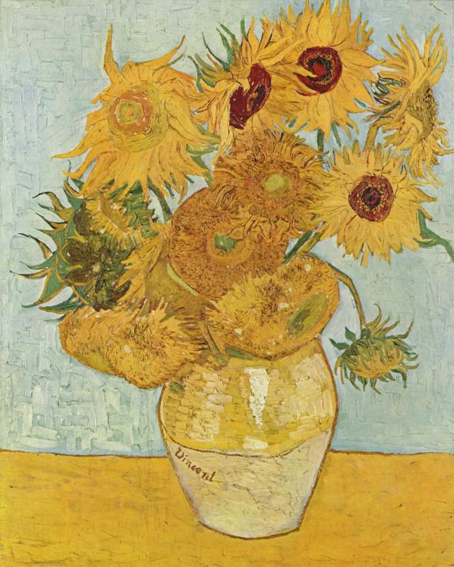 Sunflowers Vincent Van Gogh Source: Wikimedia