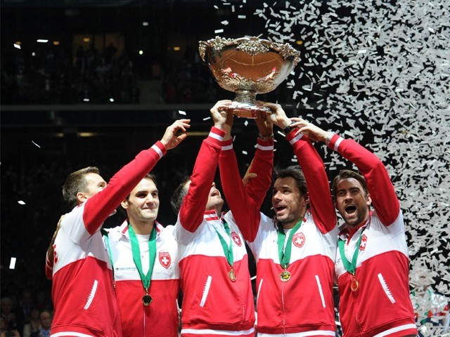 Victorious Swiss Davis Cup Team. Photo: AFP