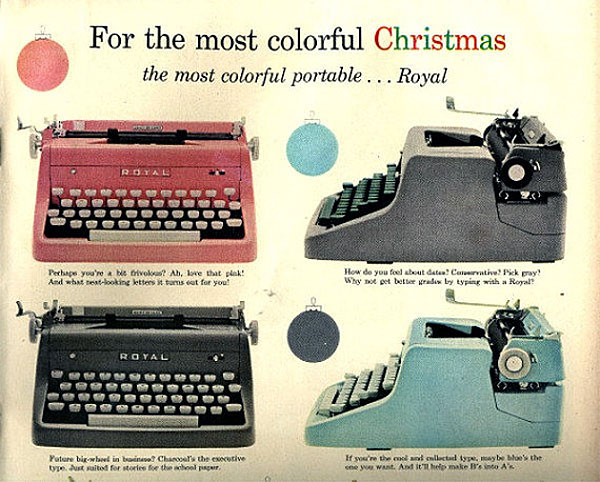 1950s Teal Royal Typewriter Ad