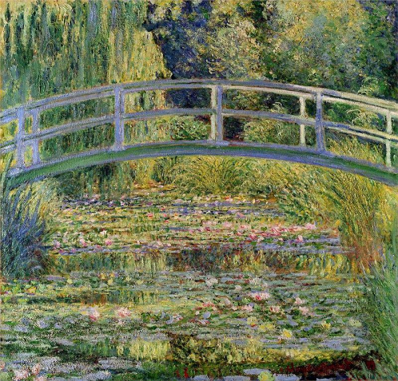 water-lily-pond-with-japanese-bridge